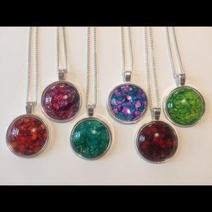 Glass marble ink pendant